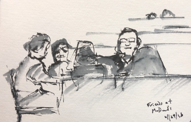 "Geoff Watson, ""Friends at McDonald's,"" ink and wash on paper, about 5"" x 7,"" 2018."