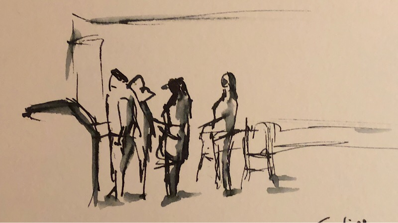 "Geoff Watson, ""Waiting in line at McDonald's,"" ink and wash on paper, about 4"" x 6,"" 2018."