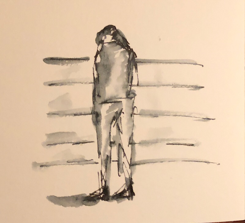 "Geoff Watson, ""Shoe shopping,"" ink and wash on paper, about 4"" x 6,"" 2018."