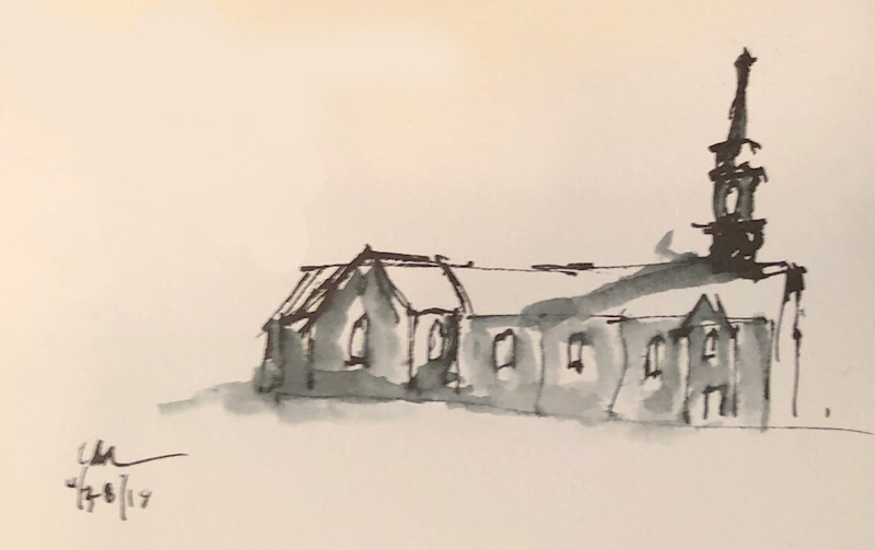 "Geoff Watson, ""Church sketch,"" ink and wash on paper, about 4"" x 6,"" 2018."