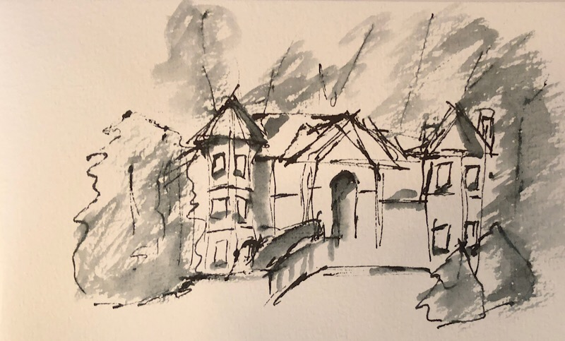 "Geoff Watson, ""Mansion sketch,"" ink wash on paper, about 4"" x 6,"" 2018."