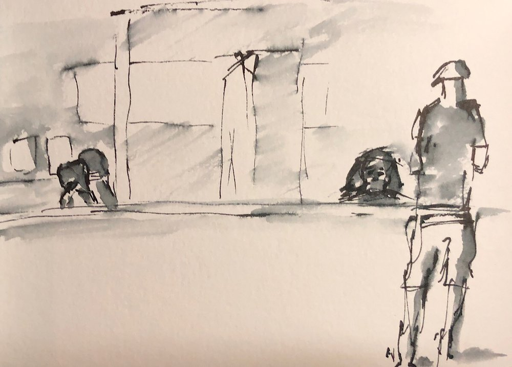 "Geoff Watson, ""Doctor's waiting room,"" ink wash on paper, 5"" x 7,"" 2018."