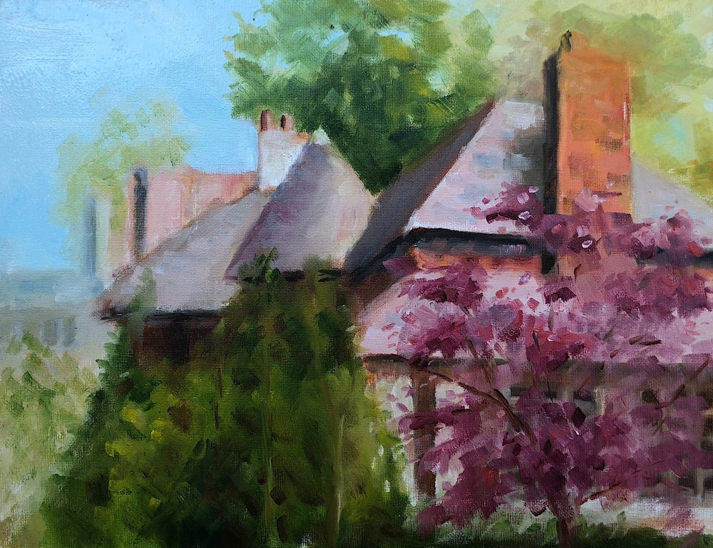 "Geoff Watson, ""House in Wesley Heights,"" oil on canvas panel, 11"" x 14,"" 2018."