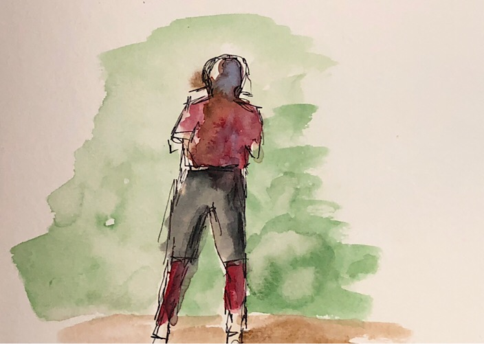 "Geoff Watson, ""Ballplayer,"" ink and watercolor on paper, about 5"" x 7,"" 2018."