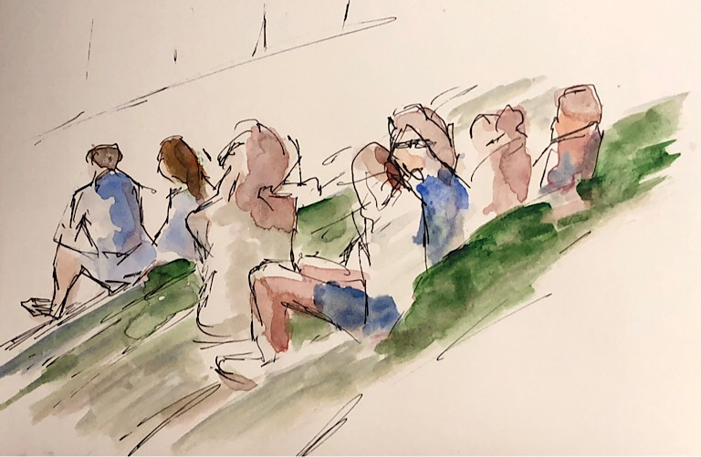 "Geoff Watson, ""Softball fans,"" ink and watercolor on paper, about 5"" x 8,"" 2018."