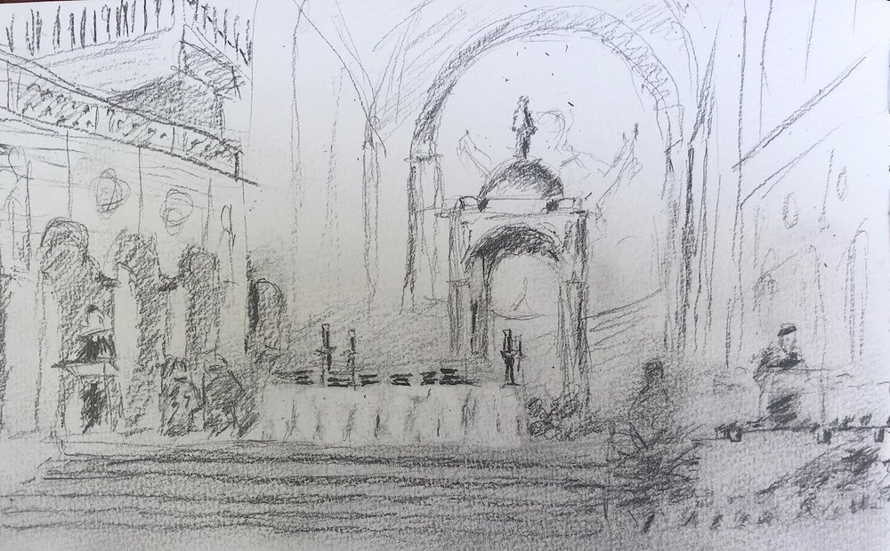 "Geoff Watson, ""Honors Convocation at The Catholic University of America,"" mechanical pencil on paper, 5"" x 8,"" 2018."