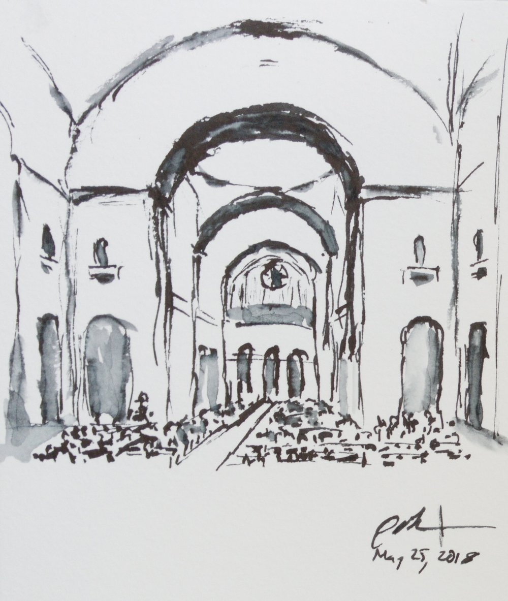 "Geoff Watson, ""Commencement in the Basilica,"" ink wash on paper, about 4"" x 5,"" 2018."