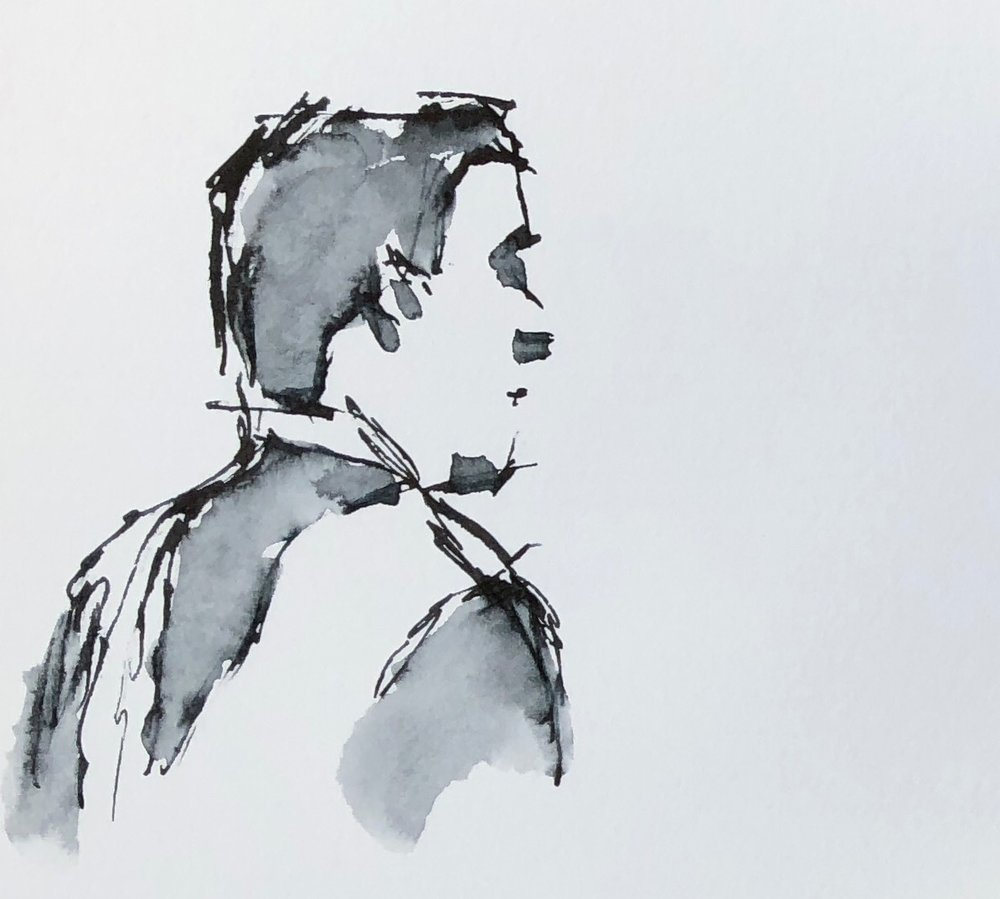 "Geoff Watson, ""The Hon. Brett Kavanaugh,"" ink wash on paper, about 3"" x 5,"" 2018."