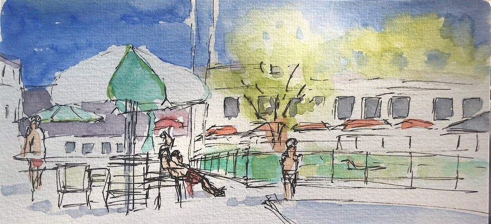 "Geoff Watson, ""Pool sketch,"" watercolor and pen on paper, 3"" x 8,"" 2018."