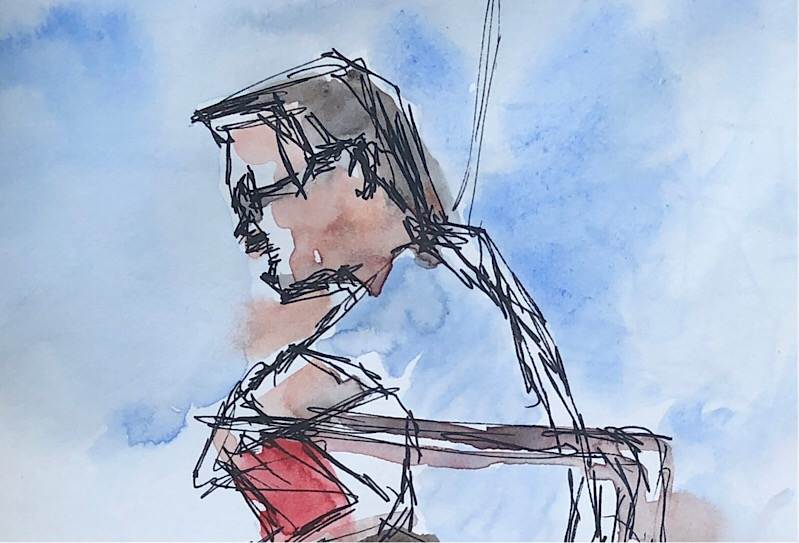 """Geoff Watson, """"Sketch of a lifeguard,"""" ink and watercolor on paper, 4"""" x 6,"""" 2018."""