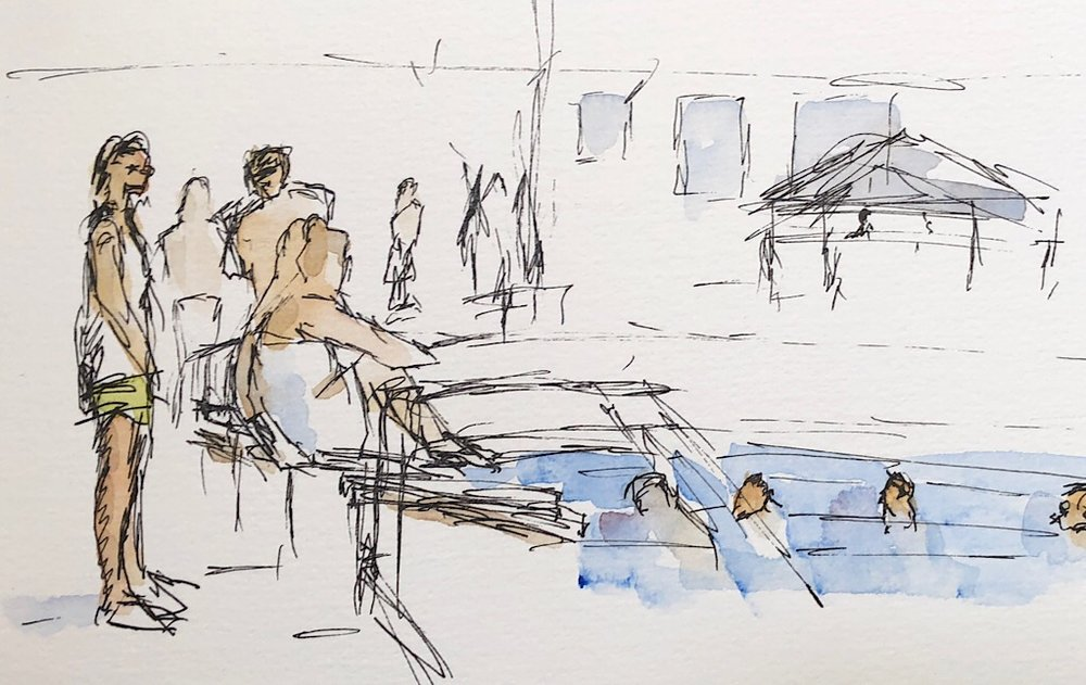 "Geoff Watson, ""Swim team practice,"" watercolor and ink on paper, 5"" x 8,"" 2018."