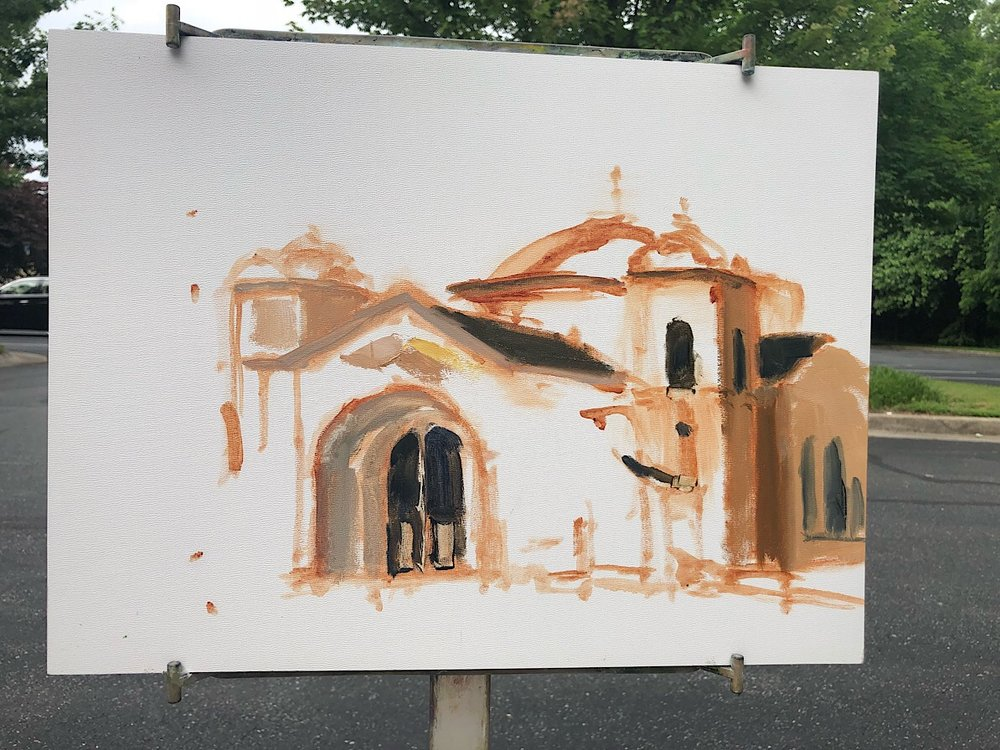 "Geoff Watson, ""Saints Peter & Paul Antiochian Orthodox Christian Church,"" in progress, oil on panel, 11"" x 14,"" 2018."