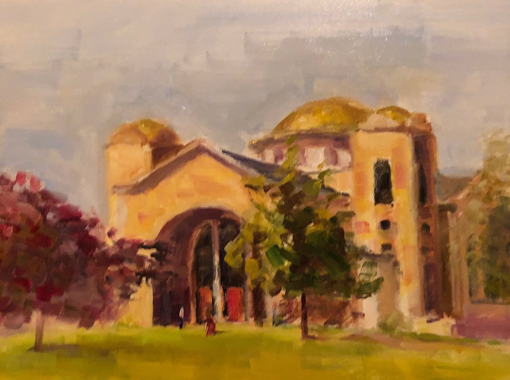 "Geoff Watson, ""Saint Peter & Paul's,"" work in progress, oil on panel, 12"" x 16,"" 2018."
