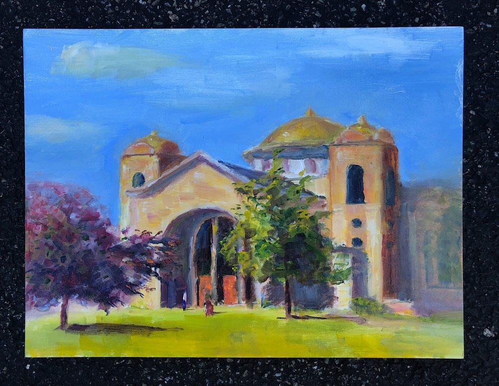 """Geoff Watson, """"Saint Peter & Paul's,"""" in progress, oil on panel, 12"""" x 16,"""" 2018."""