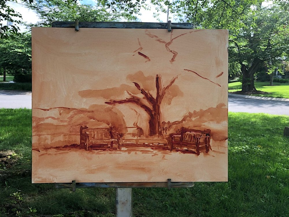 "Geoff Watson, ""Benches,"" in progress, oil on panel, 11"" x 14,"" 2018."