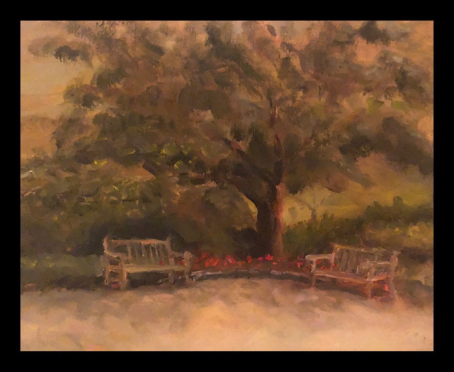 "Geoff Watson, ""Benches - in progress,"" oil on panel, 11"" x 14,"" 2018."
