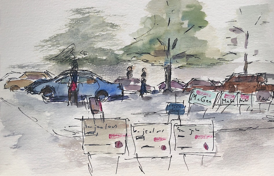 "Geoff Watson, ""Parking lot on primary day,"" watercolor and ink sketch on paper, 5"" x 8,"" 2018."