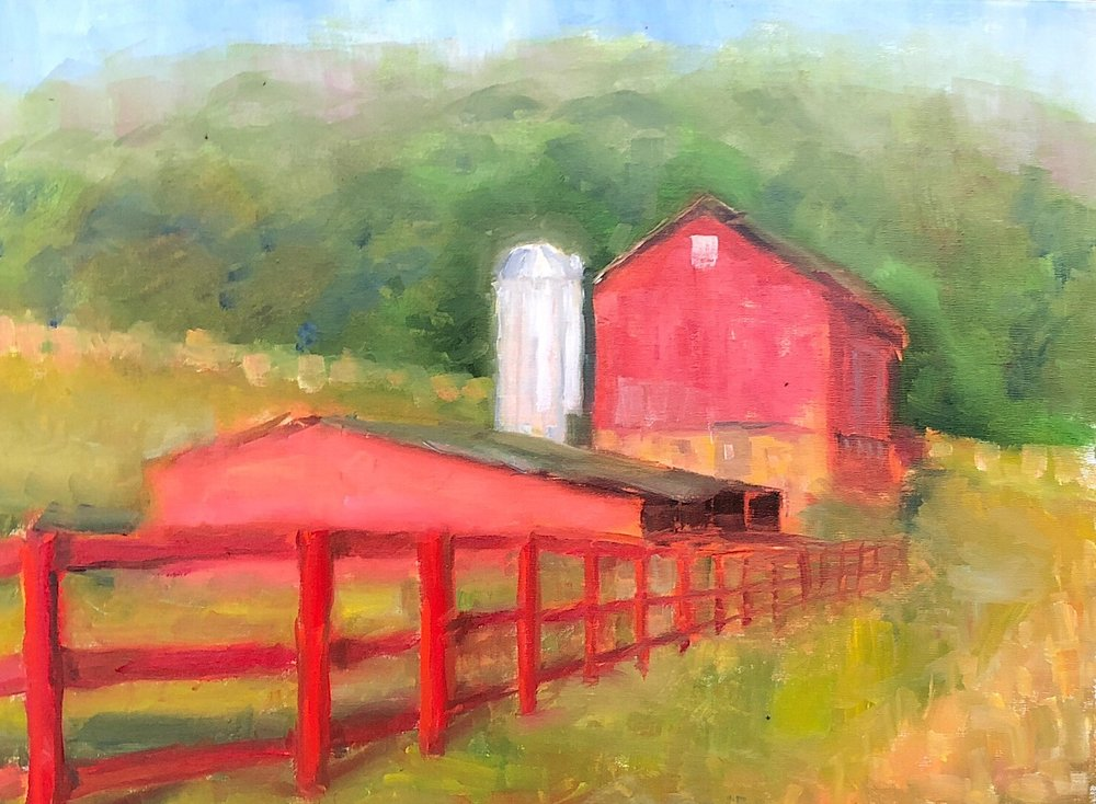 "Geoff Watson, 'Farm,"" oil on linen, 18"" x 24,"" 2018."