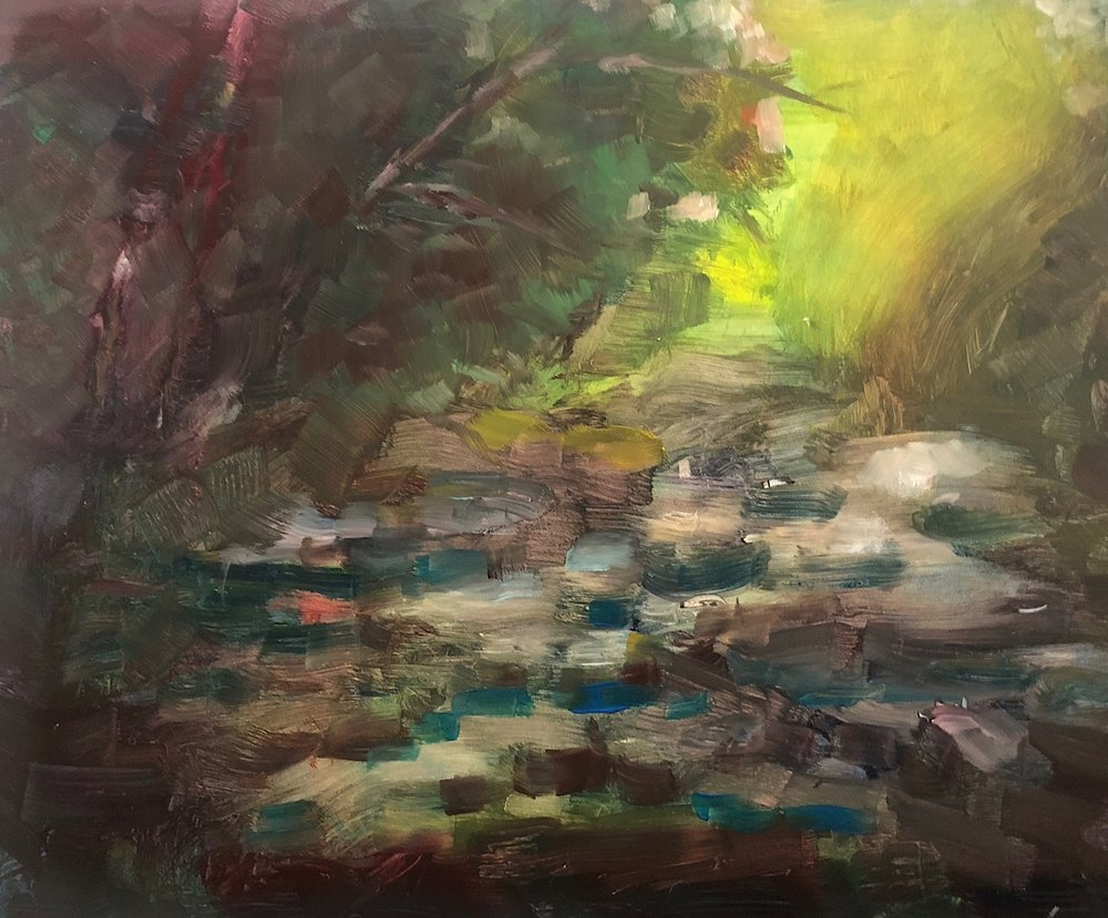 "Geoff Watson, ""Little Falls Creek,"" in progress, oil on panel, 11"" x 14,"" 2018."