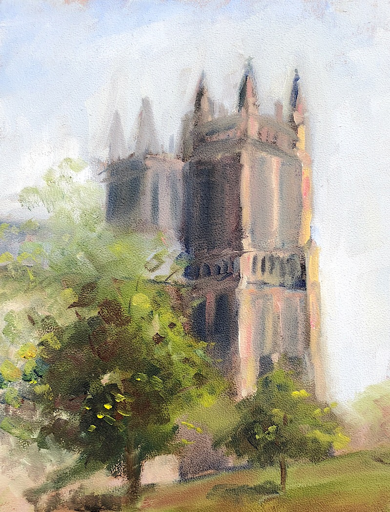 "Geoff Watson, ""Study of the Washington National Cathedral,"" oil on panel, 11"" x 14,"" 2018."