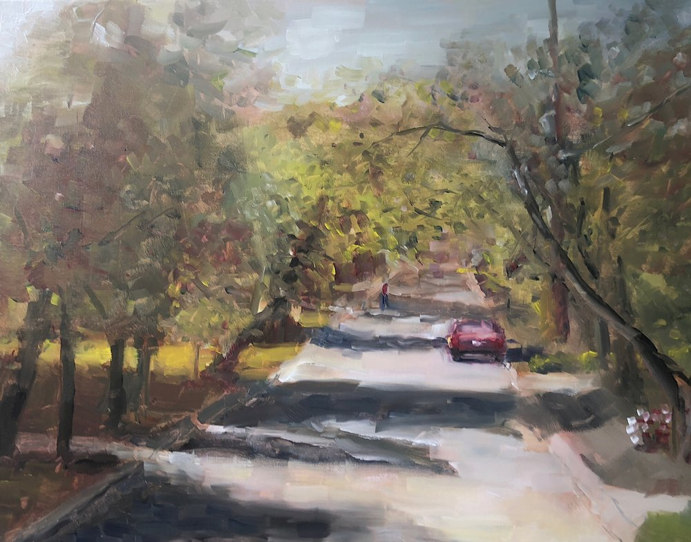 "Geoff Watson, ""Kenwood Avenue,"" oil on linen, 18"" x 24,"" 2018."