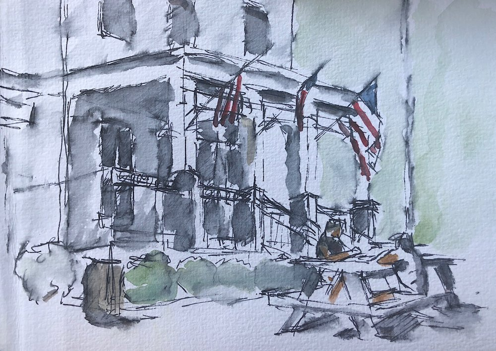 "Geoff Watson, ""Broad Branch Market,"" ink and watercolor on paper, 5"" x 8,"" 2018."