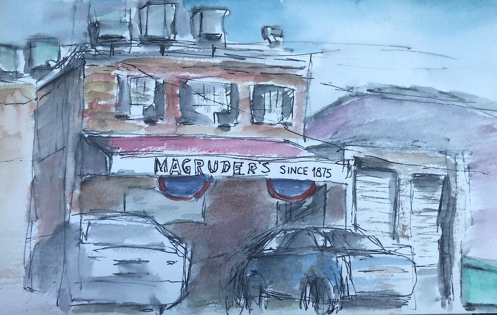 "Geoff Watson, ""Magruder's,"" ink and watercolor on paper, 5"" x 8,"" 2018."