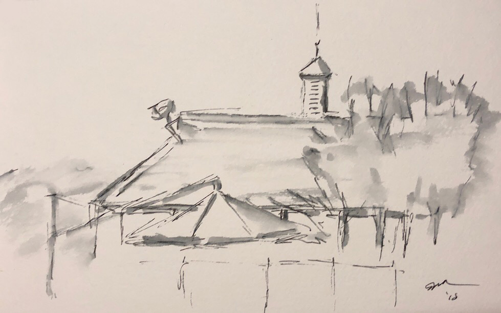 "Geoff Watson, ""Roof,"" ink and wash on paper, 5"" x 8,"" 2018."