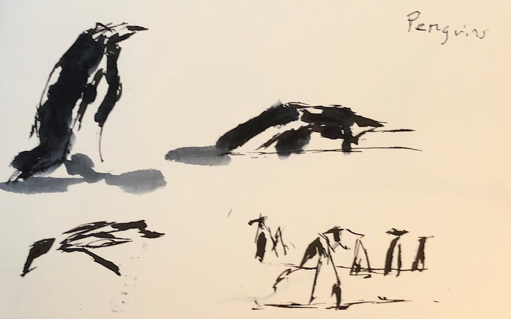 "Geoff Watson, ""More penguins,"" ink on paper, 5"" x 8,"" 2018."