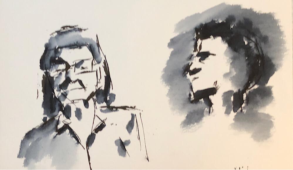 "Geoff Watson, ""Subway riders,"" ink on paper, 5"" x 8,"" 2018."