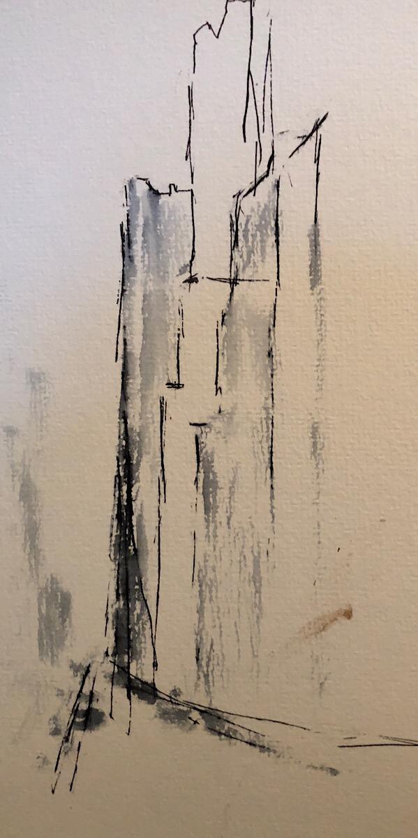 """Geoff Watson, """"58th Street,"""" ink on paper, 5"""" x 8"""", 2018."""