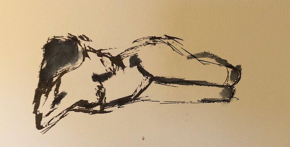 "Geoff Watson, ""Gesture sketch,"" ink and wash on paper, 5"" x 8,"" 2018."