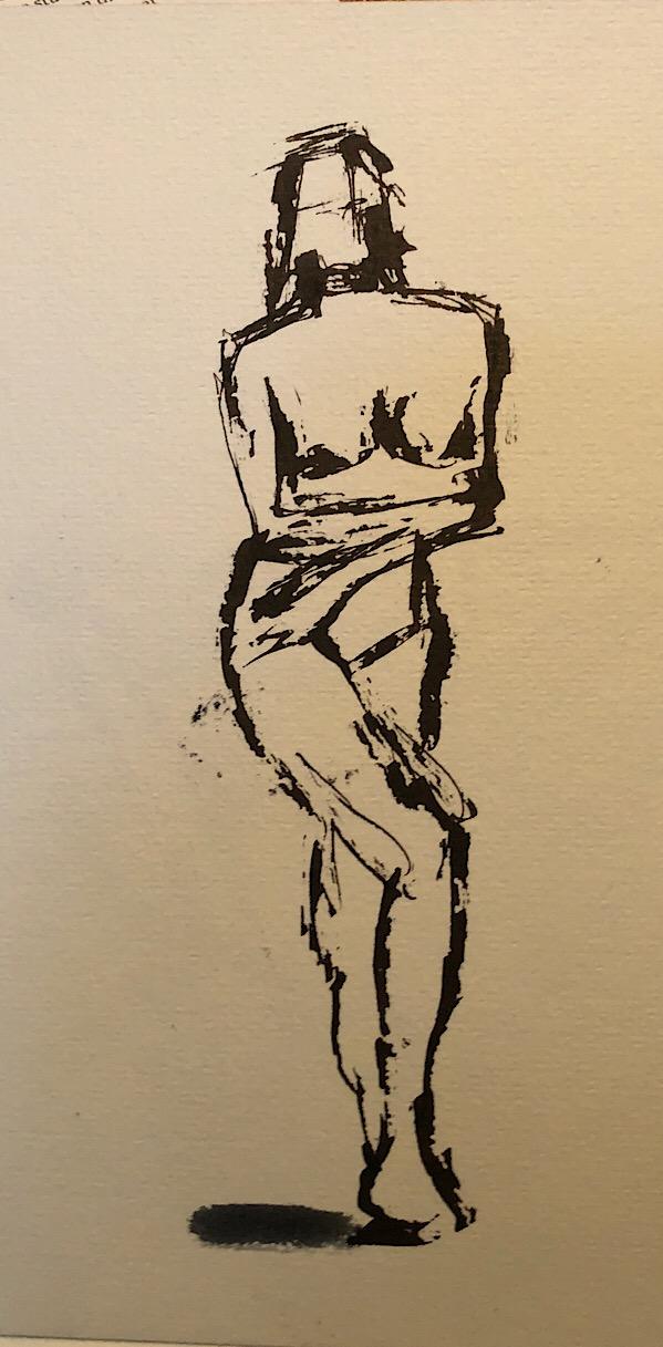 "Geoff Watson, ""Gesture sketch 2,"" ink and wash on paper, 5"" x 8,"" 2018."