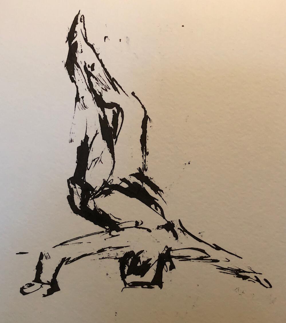 "Geoff Watson, ""Gesture sketch 3,"" ink and wash on paper, 5"" x 8,"" 2018."