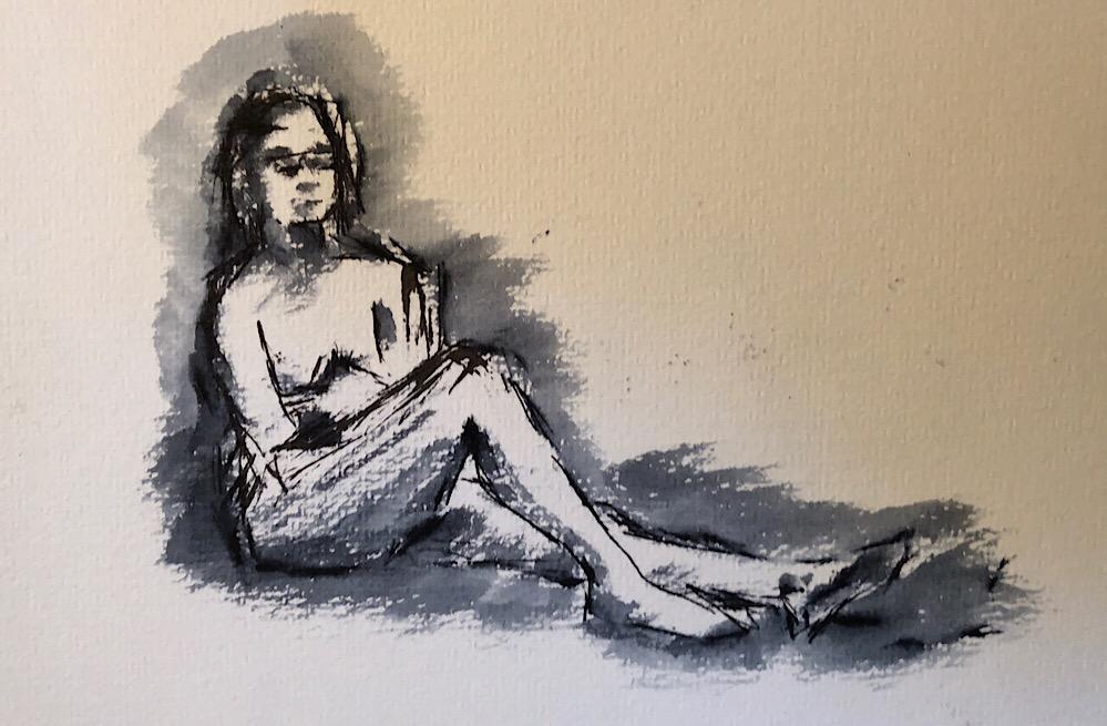 "Geoff Watson, ""Gesture sketch 5,"" ink and wash on paper, 5"" x 8,"" 2018."