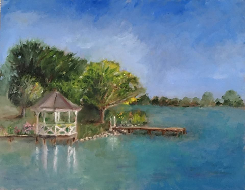 "Geoff Watson, ""Silver Lake Gazebo,"" oil on panel, 11"" x 14,"" 2016."