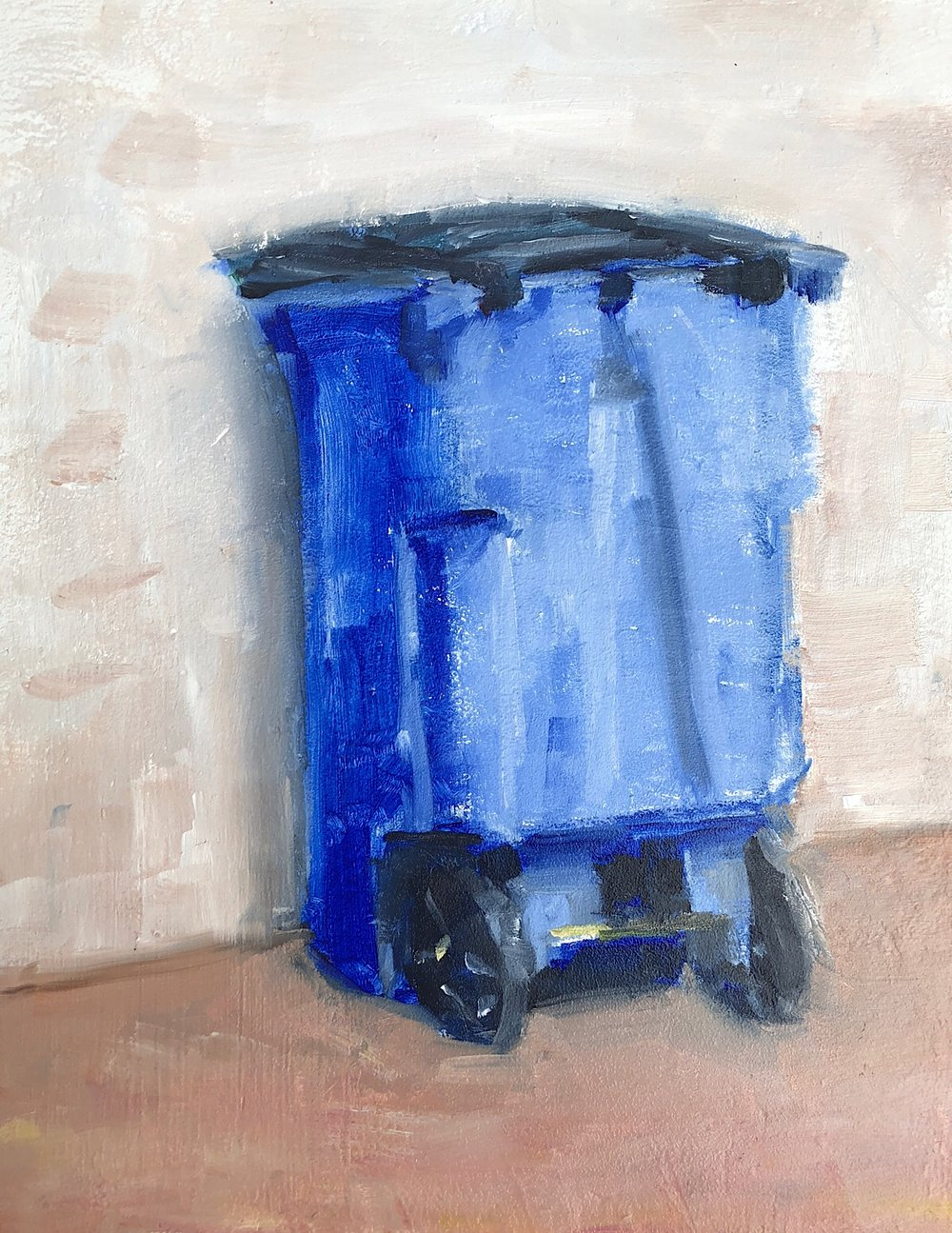 "Geoff Watson, ""Recycling Bin,"" oil on panel, 11"" x 14,"" 2018."