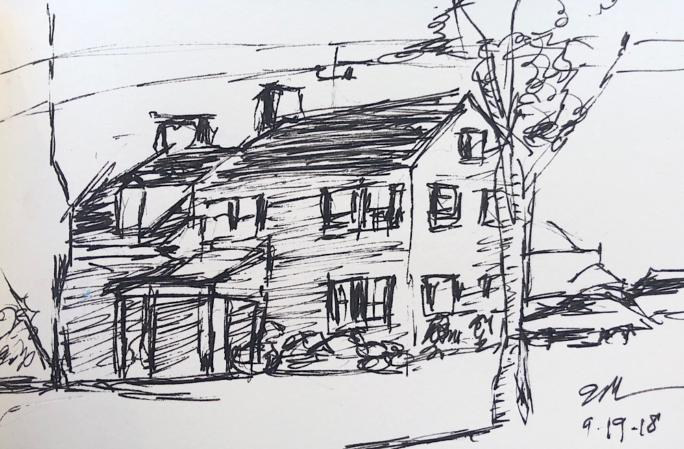 "Geoff Watson, ""River Road House,"" ink on paper, about 3"" x 5,"" 2018."