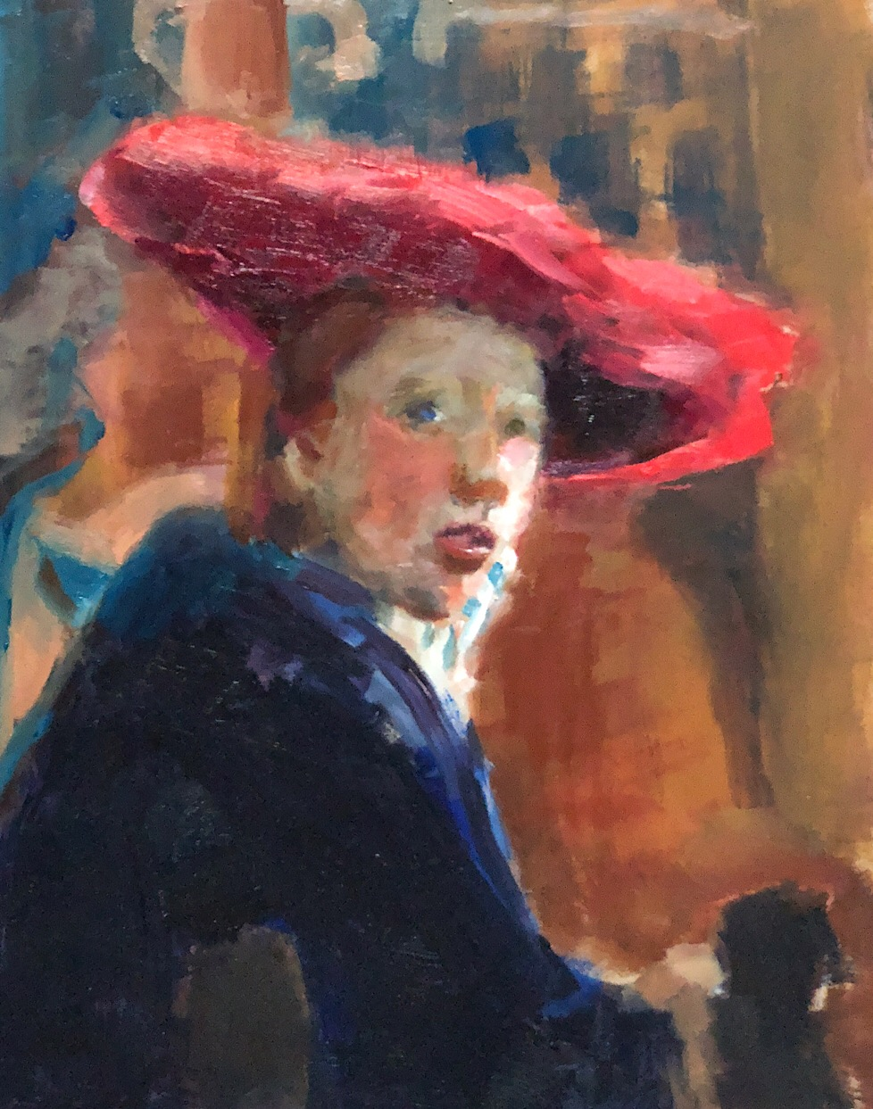 "Geoff Watson after Vermeer, ""Copy of Vermeer's Girl with a Red Hat,"" oil on panel, about 8"" x 10,"" 2018."