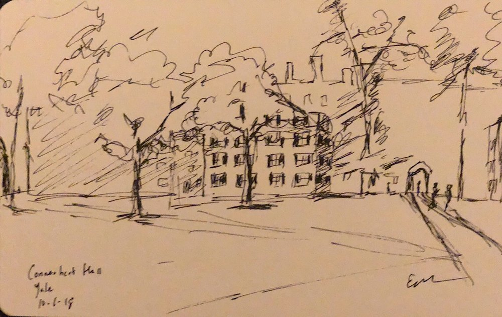 "Geoff Watson, ""Connecticut Hall (quick sketch),"" ink on paper, 5"" x 8,"" 2018."