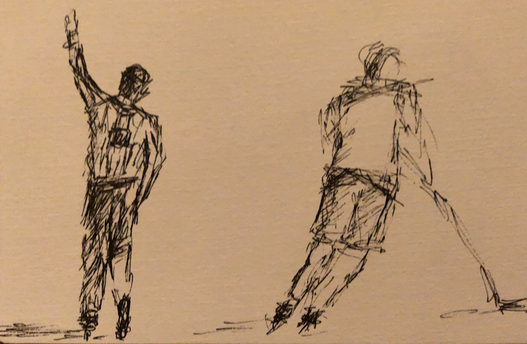 "Geoff Watson, ""Arm's up (sketch),"" ink on paper, 5"" x 8,"" 2018."