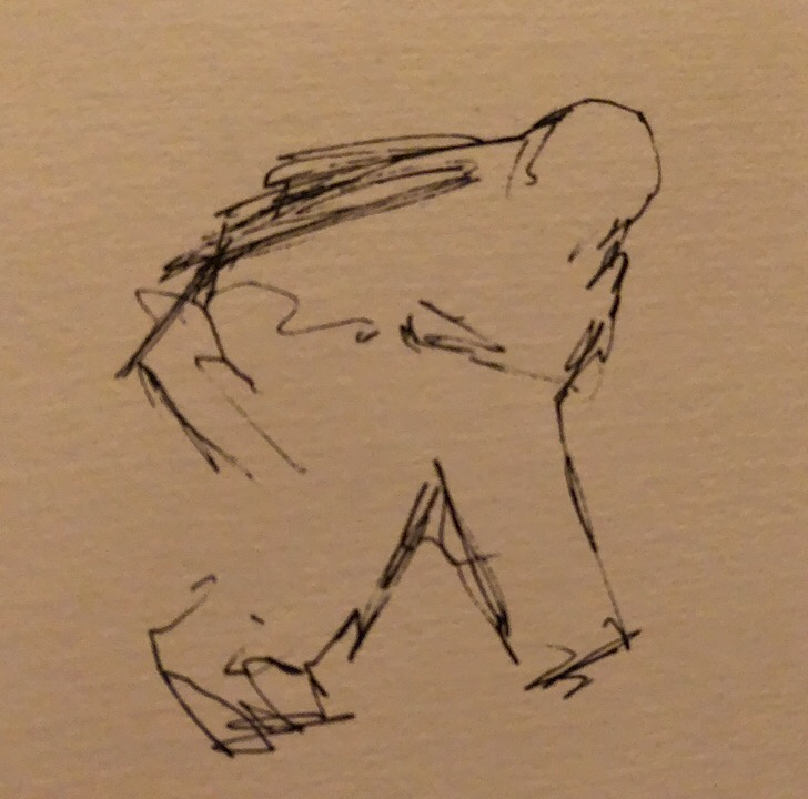 "Geoff Watson, ""Unfinished sketch of Lundqvist,"" ink on paper, about 3"" x 3,"" 2018."