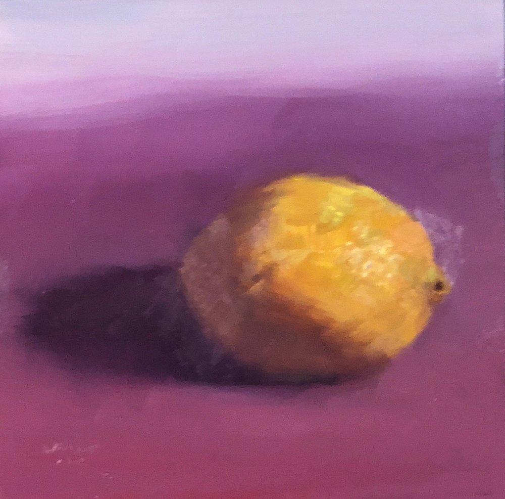"Geoff Watson, ""Lemon (in progress),"" oil on panel, 6"" x 6,"" 2018."