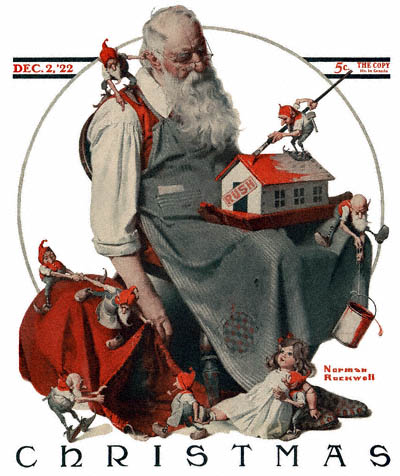 "Norman Rockwell, ""Santa with Elves,"" cover of the Saturday Evening Post, Dec. 2, 1922."