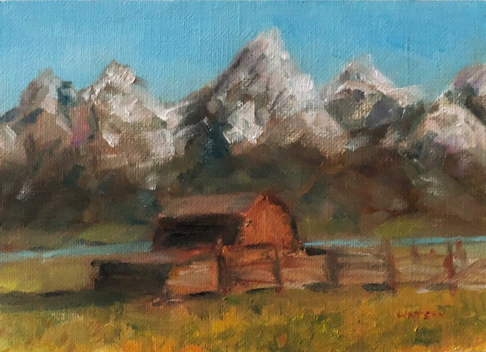 "Geoff Watson, ""T. A. Moulton Barn,"" oil on panel, 5"" x 7,"" 2018."