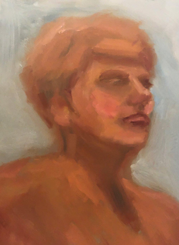 """Geoff Watson, """"Emily in January,"""" oil on panel, 11"""" x 14,"""" 2019."""