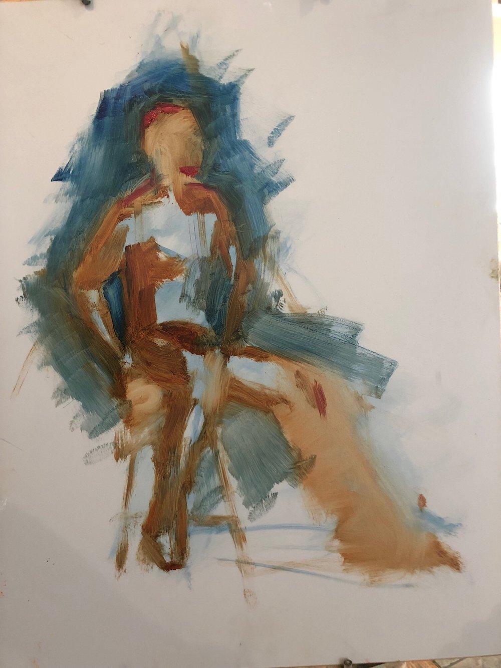 """Geoff Watson, """"A strange lay-in (in progress),"""" oil on panel, 12"""" x 16,"""" 2019."""