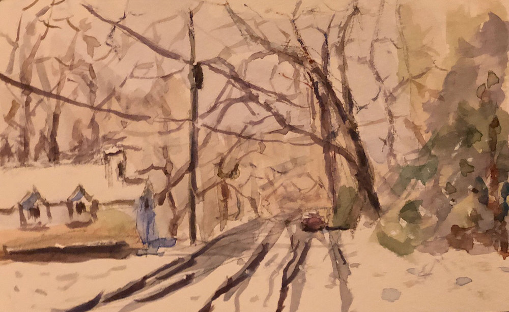 """Geoff Watson, """"Snowy road,"""" watercolor and gouache on paper, 5"""" x 8,"""" 2019."""