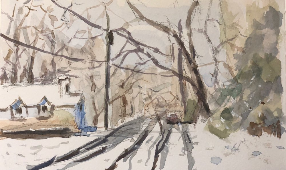 """Geoff Watson, """"Snowy road (in progress),"""" watercolor and gouache on paper, 5"""" x 8,"""" 2019."""
