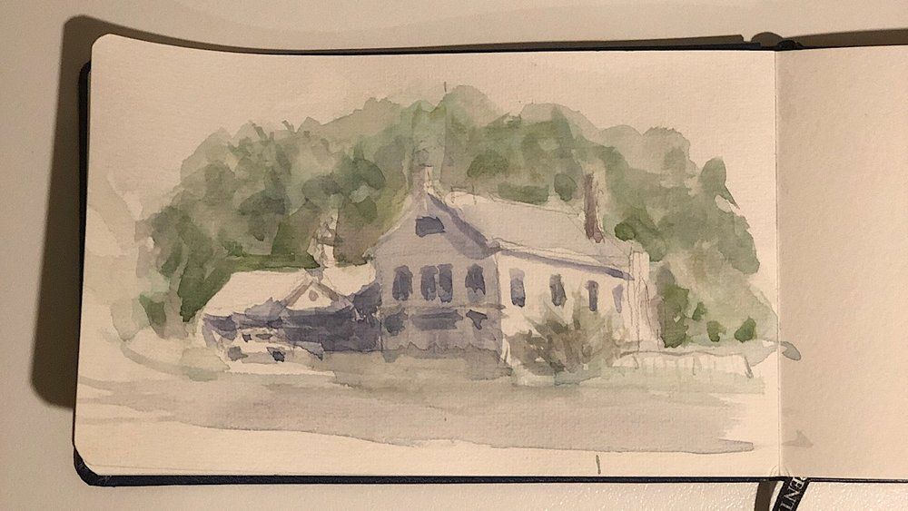"Geoff Watson, ""Darien shops,"" watercolor on sketchbook paper, about 4"" x 7"", 2019."